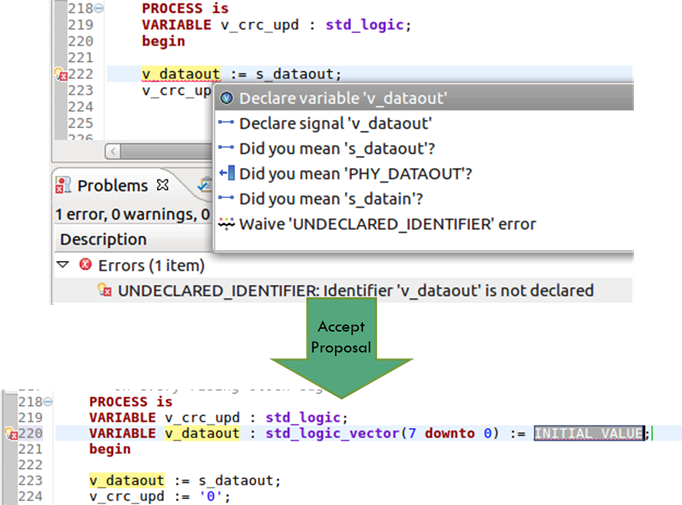Figure 5. The IDE can add a missing variable (AMIQ EDA)