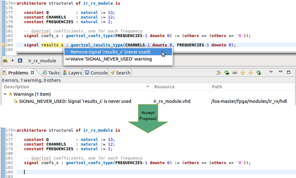 Figure 6. The IDE can remove an unused signal anywhere in the code (AMIQ EDA – click to enlarge)