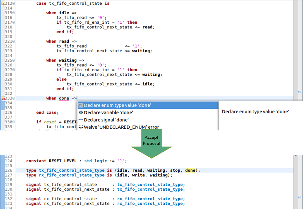 Figure 7. The IDE can offer to add missing enumerated type values (AMIQ EDA – click to enlarge)
