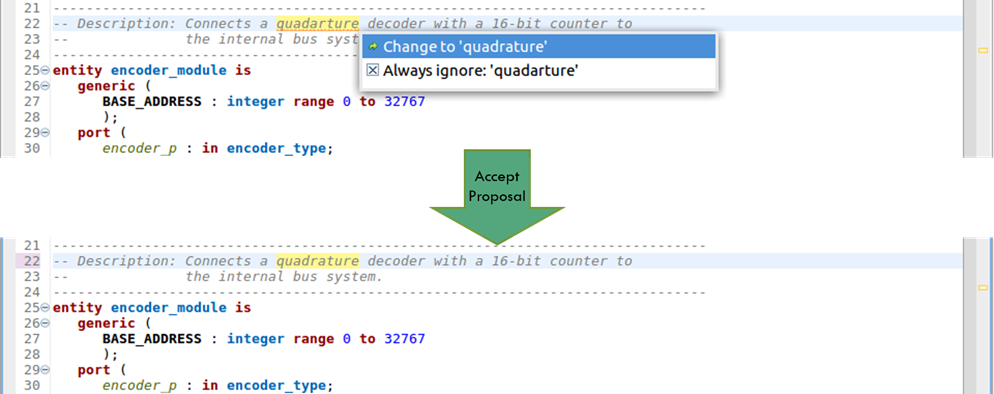 Figure 8. The IDE can offer proposals to fix typographical errors (AMIQ EDA – click to enlarge)