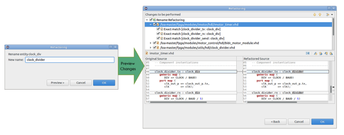 Figure 1. The IDE can easily rename a VHDL entity (AMIQ EDA - click to enlarge)
