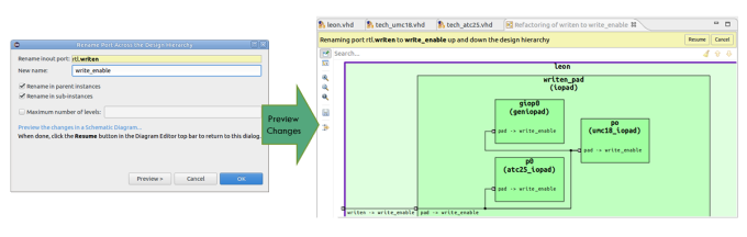 Figure 2. The IDE can easily rename a VHDL port across the design (AMIQ EDA - click to enlarge)