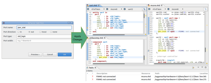 Figure 3. The IDE can add a new port to an entity (AMIQ EDA - click to enlarge)