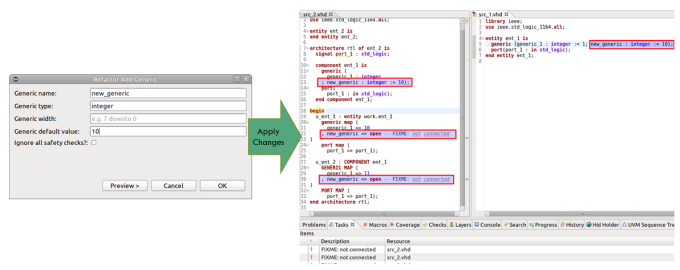 Figure 4. The IDE can add a new generic to an entity (AMIQ EDA - click to enlarge)