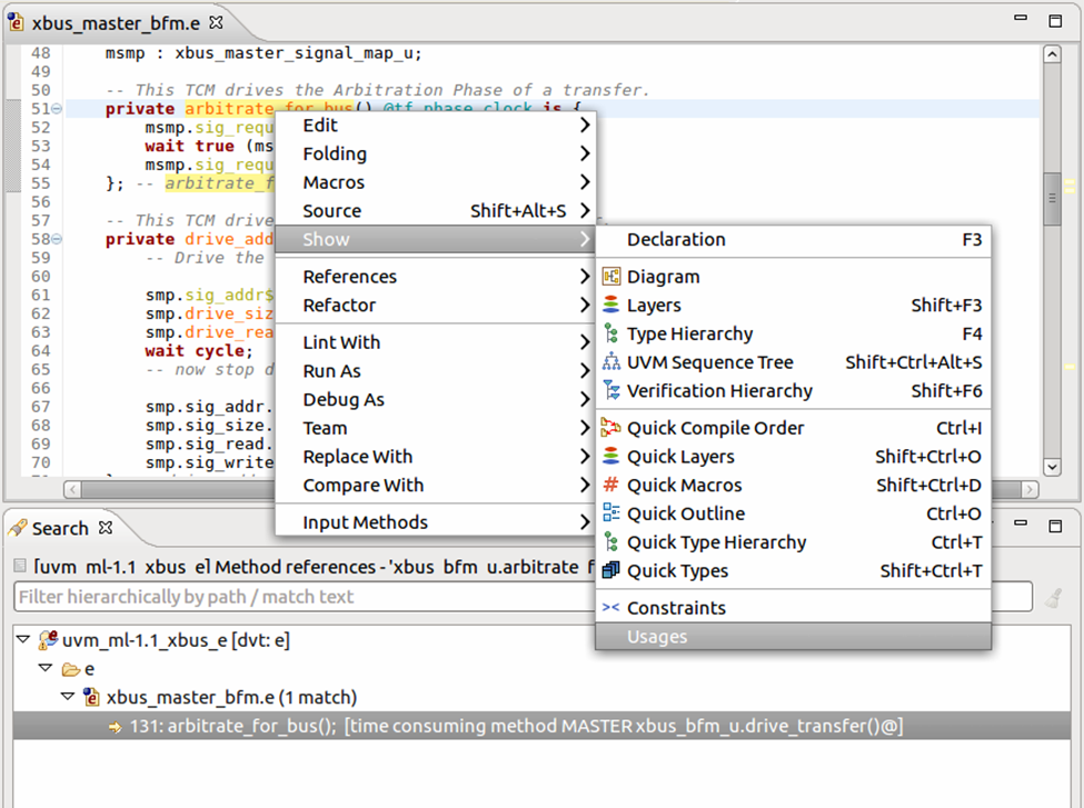 Figure 2. The IDE can find all usages of an entity (AMIQ EDA)