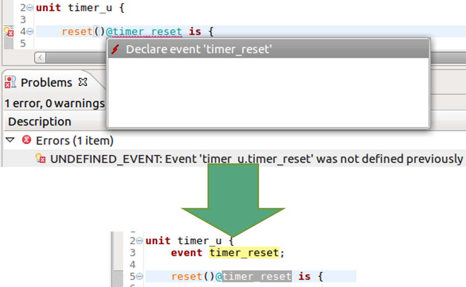 Figure 5. The IDE can suggest a fix for a missing event (AMIQ EDA)