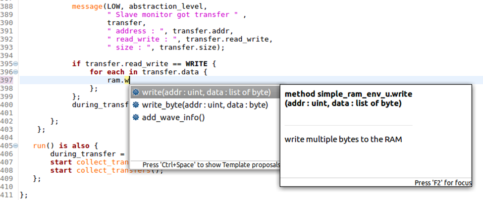 Figure 7. The IDE can auto-complete partially entered identifiers (AMIQ EDA)