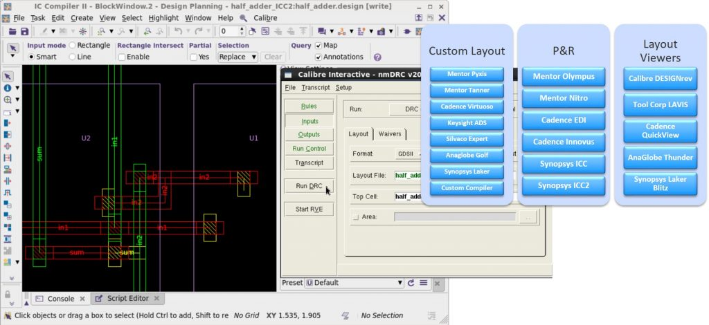 Figure 2. The Calibre Interactive GUI has the same look-and-feel across all tool integrations (Mentor)