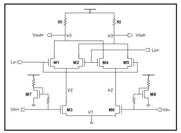 Figure 4.A fully differential mixer (University of Michigan [3]).