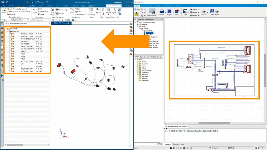 Figure 3. The electrical designer exports wiring data to the MCAD environment (Siemens EDA)
