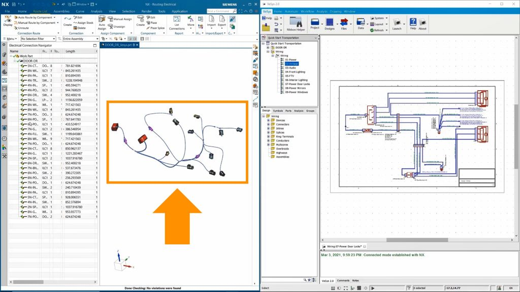 Figure 4. With the electrical data, the mechanical designer is able to automatically route wiring at the component level (Siemens EDA)