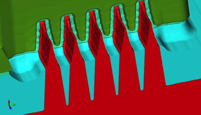 3D image mid-process before source/drain epitaxy showing unmerged fins (Source: Coventor)