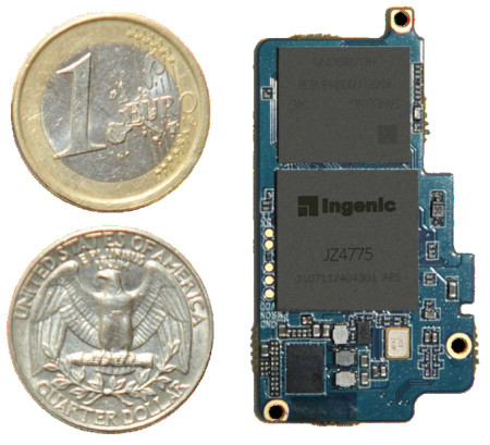 Ingenic's Newton platform is about the size of an SD card (Source: Imagination Technologies)