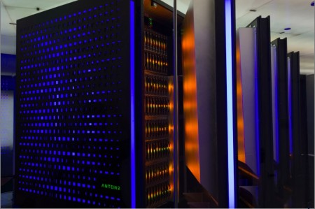 Racks at DE Shaw Research containing the Anton 2 ASIC