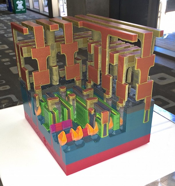 Model of a generic 14nm finFET process, 3D printed from a SEMUlator3D 'virtual fab' model