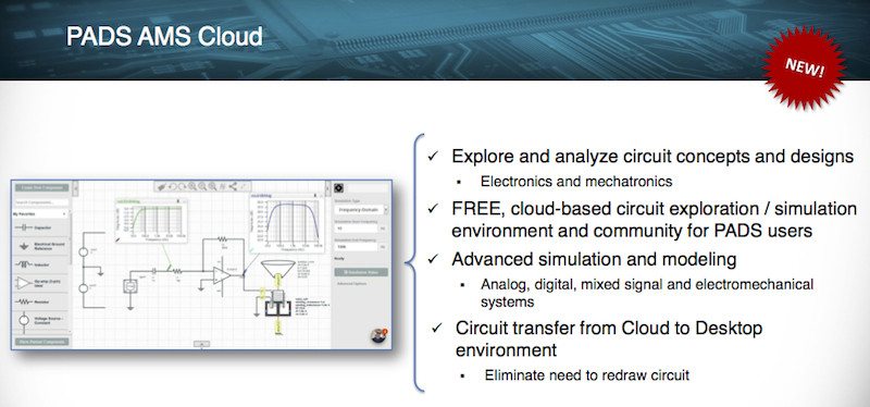 Figure 2. Summary of PADS AMS Cloud (Mentor Graphics)