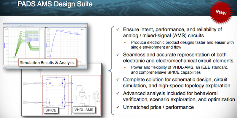 Figure 1. Summary of the PADS AMS Design Suite (Mentor Graphics)