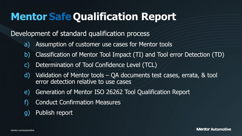 Figure 3. The building blocks of a Mentor Safe qualification report - click to enlarge (Mentor Graphics)