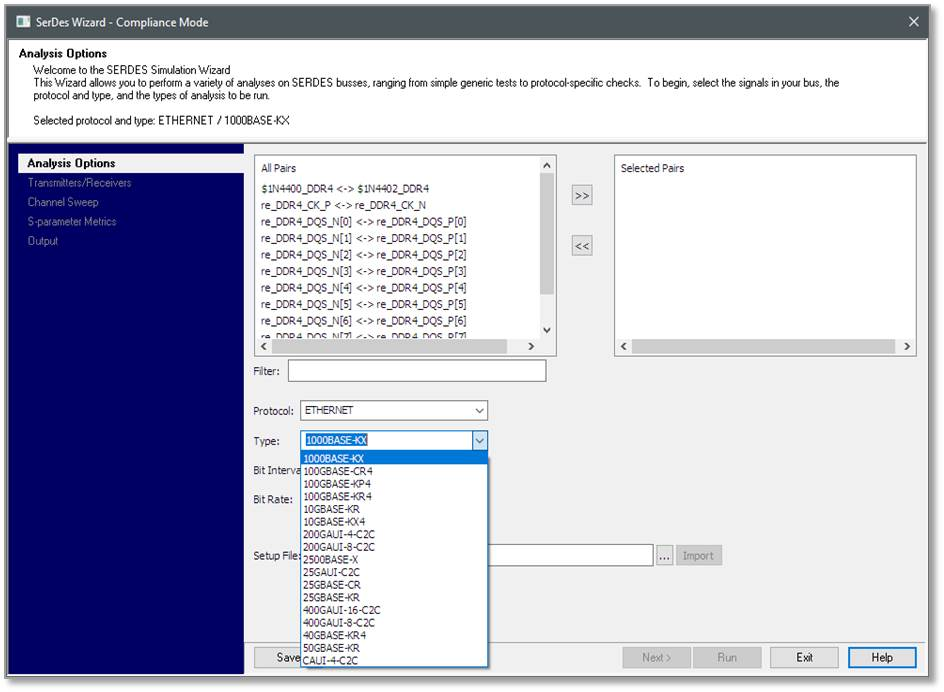 Figure 2. The HyperLynx Compliance Wizard automates validation of more than 25 SerDes protocols (Mentor)