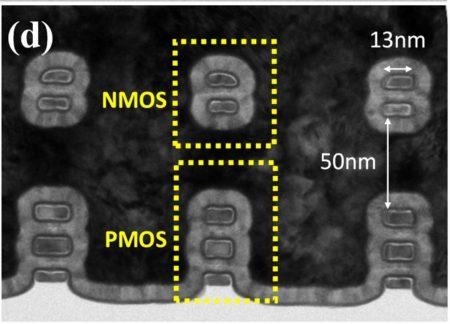 Cross-section of Intel's stacked nanoribbon transistor