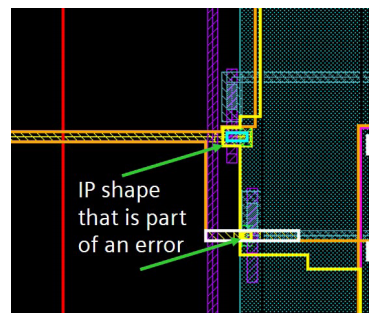 Figure 5. Calibre RealTime Digital helps visualize interface errors during floor planning (Siemens)
